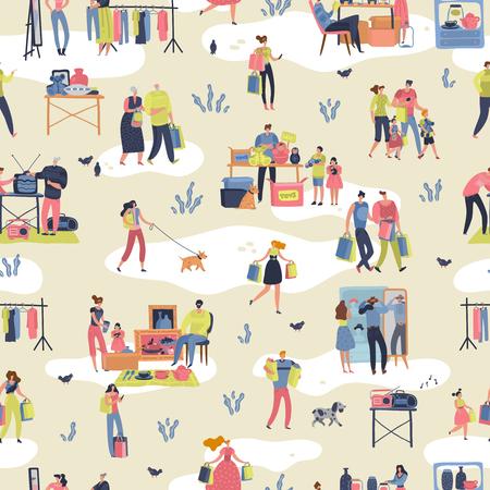 Pchli targ. Ludzie robiący zakupy z drugiej ręki stylowe towary, które wymieniają ubrania, spotykają się z teksturą bazarową. Pchli targ wektor retro bezszwowy wzór