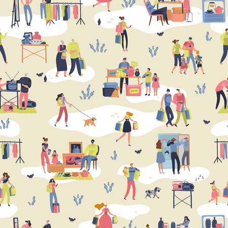 Flea market. People shopping second hand stylish goods clothes swap meet bazaar texture. Fleas market vector retro seamless pattern