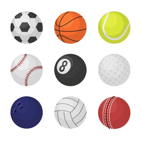 Ball collection. Sports equipment game balls football basketball tennis cricket billiards golf bowling volleyball symbols playing vector set