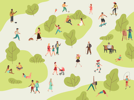Les gens se garent. Marche active en plein air femme homme fille enfants pique-nique sport parler communauté personnage loisirs déjeuner dans parc illustration plate Vecteurs