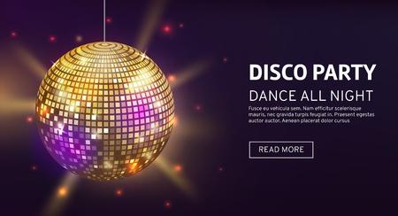 Disco banner. Mirrorball party disco ball invitation card celebration fashion partying poster template dance club vector illustration Standard-Bild - 132220019