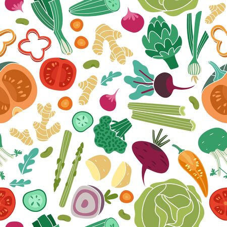 Vegetables seamless pattern. Vegan healthy meal organic food delicious fresh vegetable abstract texture design 일러스트