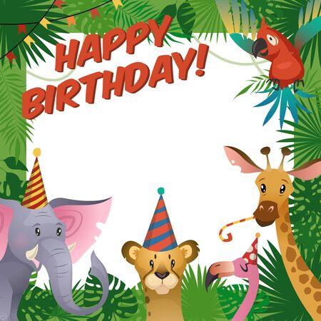 Jungle animals party card. Happy birthday baby shower greeting tropical zoo celebrate kids invitation template cartoon vector illustration 일러스트