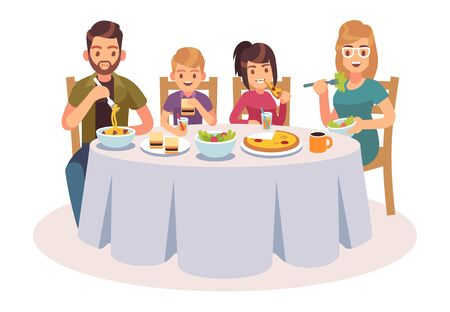 Family eating table. Happy people eat food dinner parents kids father mother daughter son drink lunch talking flat illustration