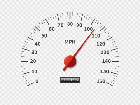 Realistic speedometer. Car odometer speed counter dial meter rpm motor miles measuring scale white engine meter racing concept