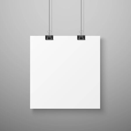 Hanging picture. Blank photo paper template for gallery realistic illustration Vettoriali