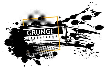 Grunge ink background. Black inked splatter dirt stain splattered spray splash with drops abstract texture