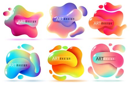 Fluid shape banners. Liquid shapes abstract color flux elements paint free forms graphic texture modern creative sticker set Иллюстрация