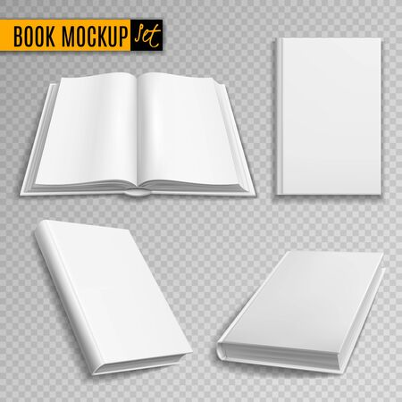 White book mockup. Realistic books cover blank brochure covers paperback empty textbook magazine hardcover catalog isolated 3d Иллюстрация