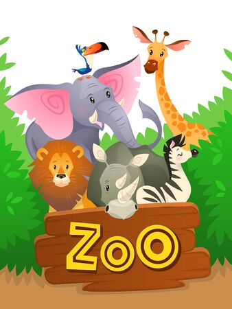 Zoo animals. African safari wildlife cute groups wild animal zoo banner jungle nature funny green landscape cartoon background Ilustração