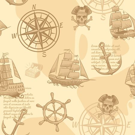 Vintage nautical seamless pattern. Marine old sketch adventure travel manuscript vintage sailing wallpaper texture
