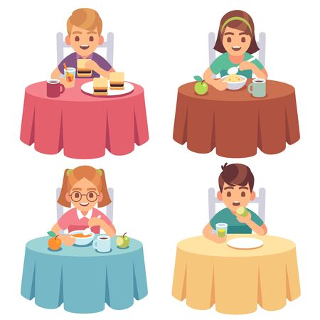 Children eating. Kids eat dinner table child breakfast lunch fast food dining girl boy cartoon characters