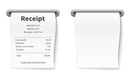 Realistic receipt. Billing commission terminal transaction paper check in restaurant cafe bank shop and supermarket