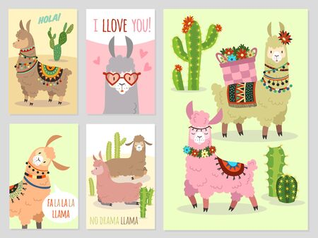Llama. Baby llamas cute alpaca and cacti wild peru camel, girl party invitation set