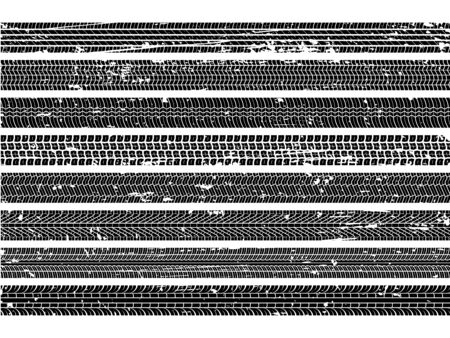 Vehicle tire tracks. Tread grunge track wheel trace trail dirty road speed skid auto scratch print texture collection Фото со стока - 133636777