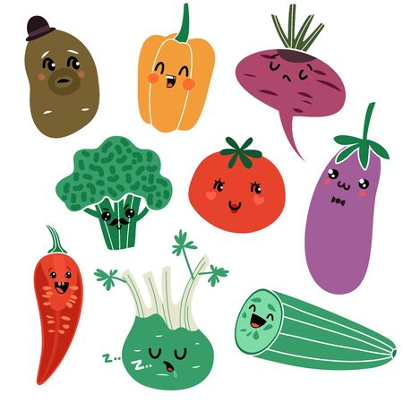 Cartoon vegetables. Vegan healthy meal organic food delicious fresh child vegetable faces isolated fun characters