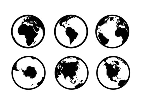 Earth globe pictogrammen. Wereld cirkel kaart geografie internet wereldwijde handel toerisme vector zwarte symbool ingesteld op witte achtergrond Vector Illustratie