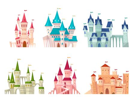 Castles set. Medieval castle towers fairytale mansion fortress fortified palace gate ancient gothic citadel cartoon vector collection