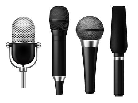 Microphones realistic. Mic conference news media voice concert microphone meeting interview journalist studio show set vector concept