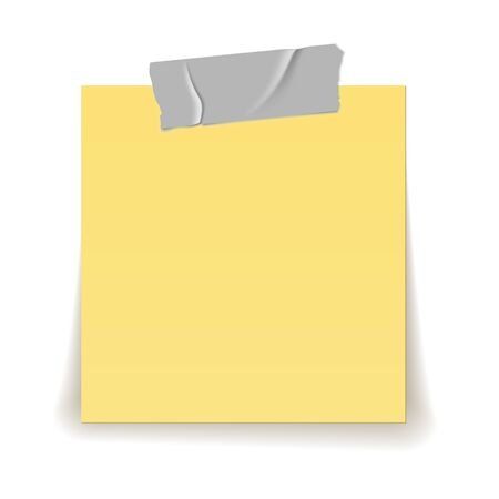 Paper reminder. Scotch tape strip piece stick on yellow important sheet realistic 3d isolated vector illustration