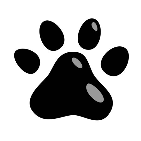 Cats paw icon. animals cat puppies mark foot prints isolated black illustration