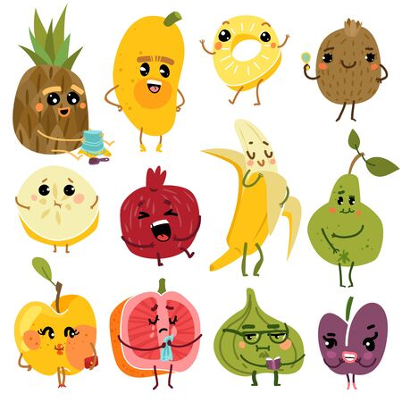 Cute fruits. Fruit funny characters pineapple kiwi banana pear apple diet fresh happy emoji natural healthy kids cartoon set