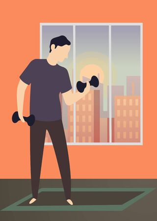 Morning activity. Home training exercises healthy gym of happy man flat color illustration Illustration