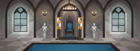 Hall castle. Medieval palace royal decor furniture interior dining table throne kingdom luxury room game cartoon, vector illustration