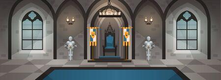 Schloss Halle. Mittelalterlicher Palast königlicher Dekor Möbelinnen Esstisch Thron Königreich Luxuszimmer Spiel Cartoon, Vektor-Illustration