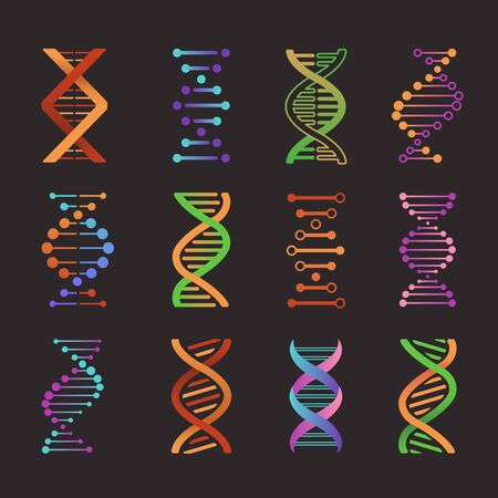 Dna icons. Biochemistry laboratory helix research symbols life gene model bio code genetics molecule medical, flat emblems
