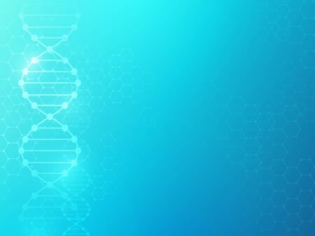 Dna background. Medicine texture biomedical research charts molecular science genom lab genetic health chain chemical, vector design Stock Illustratie