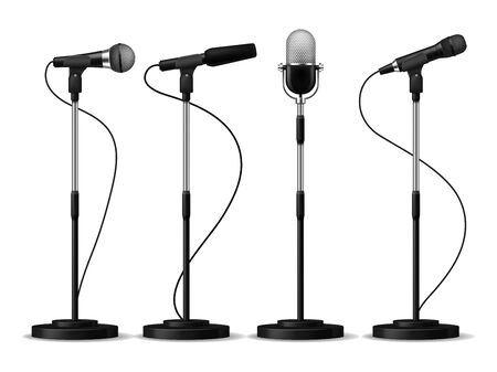 Microphones standing. Speaking stage microphone stand speech sing studio mic counter concert audio equipment set vector illustration Иллюстрация