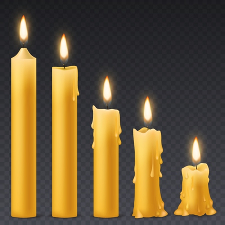 Burning candles. Candlelight romantic birthday holiday wax 3d burn out candle with flicker fire celebration symbol isolated vector collection Illustration