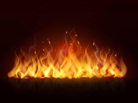 Linea di fiamma realistica. Bruciare parete infuocata fuoco caldo fiamme fuoco caldo fuoco ardente effetto falò rosso fiammeggiante sfondo vettoriale Vettoriali