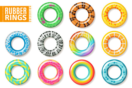 Rubber rings. Swimming inflatable float pool kids buoy toys colorful lifesaver ring children beach summer sea realistic collection Иллюстрация