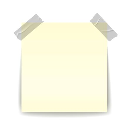 Paper reminder. Transparent strip piece stick on yellow important sheet realistic isolated illustration