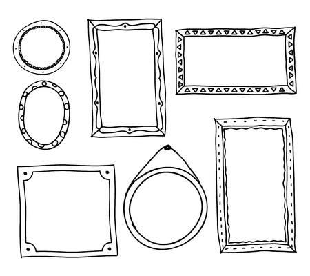 Doodle photo frames. Hand drawn square oval circle picture frames, scrapbook scribble journaling borders retro vector sketch set