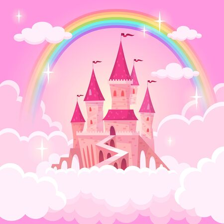 Castle princess. Fantasy flying tale palace fairies clouds magic fairytale royal palace heaven medieval cartoon