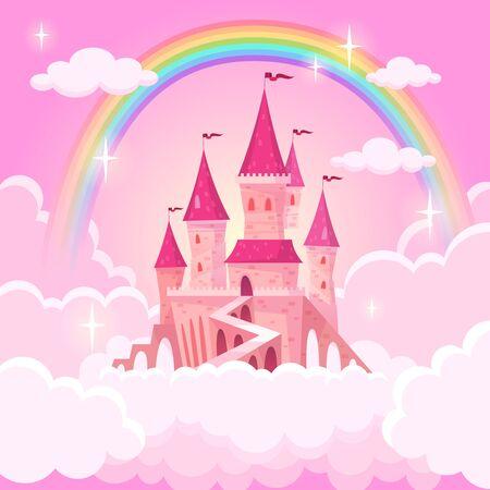 Castle princess. Fantasy flying tale palace fairies clouds magic fairytale royal palace heaven medieval cartoon