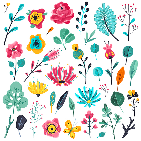 Summer flowers flat. Floral garden flower flowering plant nature florals beauty spring anniversary artwork botanical, vector icons Illustration