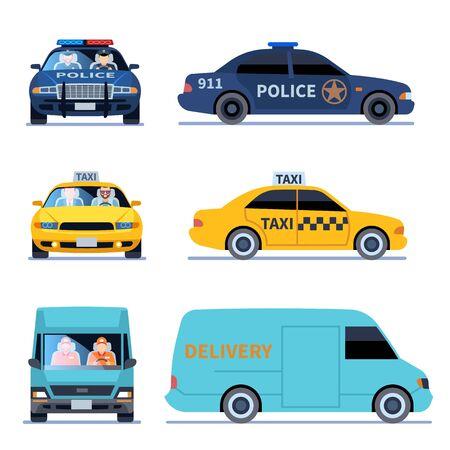 Autoansicht. LKW-Lieferpolizei-Auto und Taxi-Auto, die seitlich vorne isolierte Stadtfahrer-Sets anzeigen Vektorgrafik