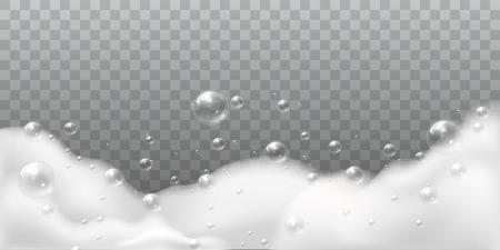 Seifenschaum. Badewäsche weiße Blasen, Shampoo Seife sauber sprudelnde glänzende Waschhygiene Waschmittel isolierter Vektorhintergrund
