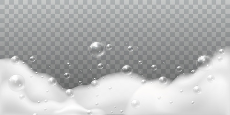 Soap foam. Bath laundry white bubbles, shampoo soap clean bubbling shiny washing hygiene detergent isolated vector background Ilustracja