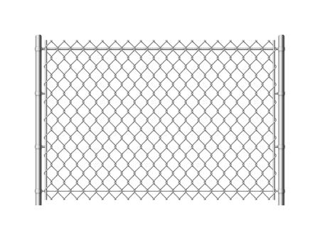 Maschendrahtzaun. Realistische Metallgitterzäune Drahtgitterkonstruktion Stahlsicherheits- und Sicherheitswand industrielle Grenze metallische Textur, Vektormuster