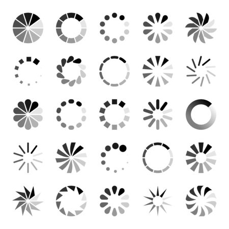 Progress loader icons. Load spinning circle circular buffering indication waiting loading computer website download upload status symbol set Фото со стока - 133637790