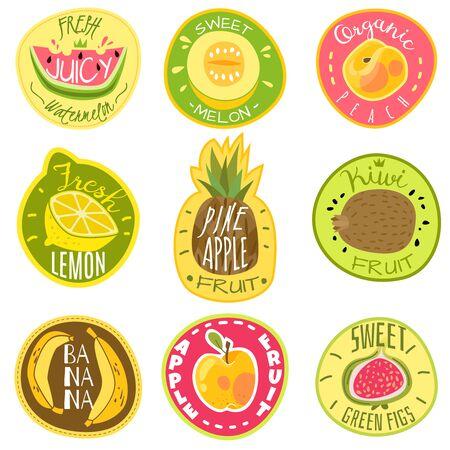 Fruit labels. Juice fresh and organic fruit cocktail natural vegan food farm emblem logo print sticker text cartoon vector templates isolated set