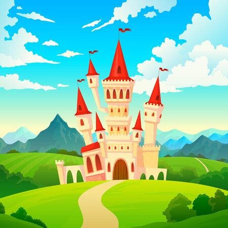 Castle landscape. Palace fairytale kingdom magical towers medieval mansion castles hill forest green mountain fantasy cartoon vector creative 写真素材 - 133637796