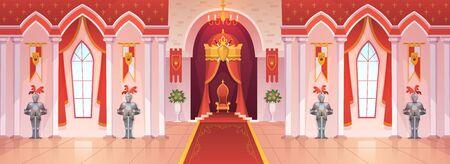 Castle ballroom. Interior medieval royal palace throne royal ceremony room hall kingdom rich fantasy knight game cartoon, vector background  イラスト・ベクター素材
