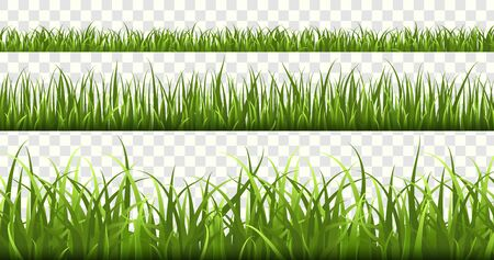 Green grass borders. Football field, summer meadow green nature, panorama herbs spring macro elements, lawn land grass isolated vector frame set Фото со стока - 133637797