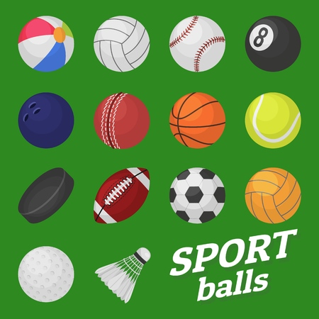Ball game set. Sport and games kids ball for volleyball baseball tennis football soccer bambinton hockey basketball rugby balls vector collection